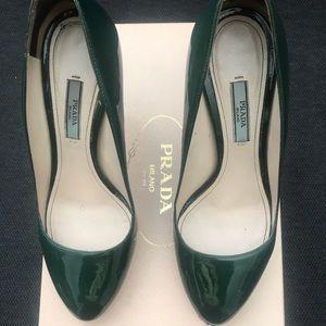 Prada heels - patent green (include box & dustbag)